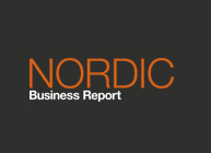 Nordic Business Report logo Vertical, colored negative